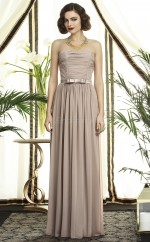Gray Chiffon A-line Strapless Long Bridesmaid Dresses (NZBD06742)
