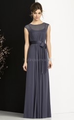 Dark Navy Chiffon Sheath Bateau Long Bridesmaid Dresses (NZBD06744)
