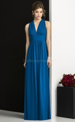 Ocean Blue Chiffon Sheath V-neck Long Bridesmaid Dresses (NZBD06745)