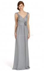 Silver Chiffon A-line V-neck Long Bridesmaid Dresses (NZBD06752)