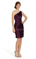 Grape Taffeta Sheath One Shoulder Short Bridesmaid Dresses (NZBD06754)
