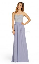 Lilac Chiffon , Lace A-line Strapless Floor-length Vintage Bridesmaid Dresses (NZBD06755)