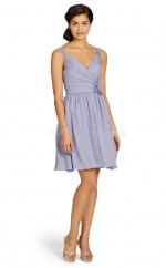 Lilac Chiffon A-line V-neck Short Bridesmaid Dress For Beach(NZBD06756)