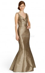Gold Taffeta Mermaid V-neck Floor-length Vintage Bridesmaid Dresses (NZBD06757)