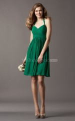 Dark Green Chiffon A-line Halter Short Bridesmaid Dress For Beach(NZBD06763)