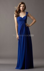 Royal Blue Chiffon A-line V-neck Floor-length Vintage Bridesmaid Dresses (NZBD06764)