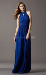 Royal Blue Chiffon A-line Halter Long Bridesmaid Dresses (NZBD06766)