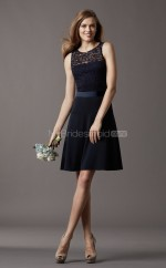 Black Satin , Lace A-line Scoop Short Bridesmaid Dresses (NZBD06773)