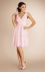 Candy Pink Chiffon A-line V-neck Knee-length Bridesmaid Dress For Beach(NZBD06774)