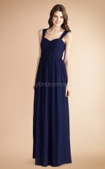 Navy Blue Chiffon A-line Straps Long Bridesmaid Dresses (NZBD06775)