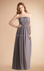 Gray Chiffon A-line Strapless Long Bridesmaid Dresses (NZBD06776)