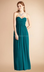 Ink Blue Chiffon A-line Sweetheart Long Bridesmaid Dresses (NZBD06778)