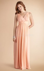 Pearl Pink Chiffon A-line V-neck Long Bridesmaid Dresses (NZBD06779)