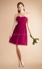 Dark Fuchsia Chiffon A-line Sweetheart Neckline Short Bridesmaid Dress For Beach(NZBD06781)