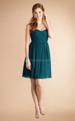 Ink Blue Chiffon A-line Sweetheart Neckline Short Bridesmaid Dress For Beach(NZBD06784)