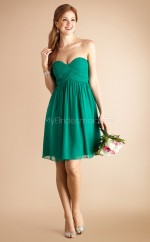 Green Chiffon A-line Sweetheart Neckline Short Bridesmaid Dress For Beach(NZBD06785)