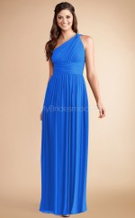 Ocean Blue Chiffon A-line One Shoulder Long Bridesmaid Dresses (NZBD06786)