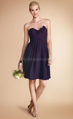 Grape Chiffon A-line Sweetheart Neckline Short Bridesmaid Dress For Beach(NZBD06788)