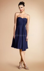 Navy Blue Chiffon A-line Sweetheart Neckline Short Bridesmaid Dress For Beach(NZBD06790)