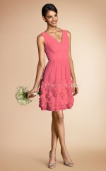 Watermelon Chiffon A-line V-neck Short Bridesmaid Dress For Beach(NZBD06792)