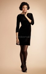 Black Velvet Sheath Bateau Neckline Short Vintage Bridesmaid Dresses (NZBD06796)