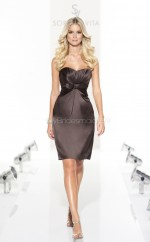Chocolate Satin Sheath Sweetheart Neckline Short Bridesmaid Dresses (NZBD06802)