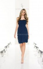 Dark Blue Chiffon Sheath Sweetheart Neckline Short Bridesmaid Dress For Beach(NZBD06805)