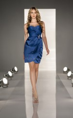 Royal Blue Satin Sheath Sweetheart Neckline Short Bridesmaid Dresses (NZBD06806)