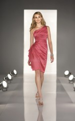Watermelon Stretch Satin Sheath One Shoulder Short Bridesmaid Dresses (NZBD06808)