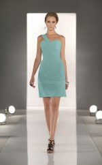 Sky Blue Chiffon A-line One Shoulder Short Bridesmaid Dresses (NZBD06812)