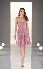 Nude Pink Chiffon A-line Sweetheart Neckline Short Bridesmaid Dress For Beach(NZBD06818)