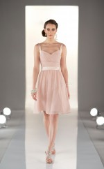 Pearl Pink Chiffon A-line Straps Short Bridesmaid Dress For Beach(NZBD06821)