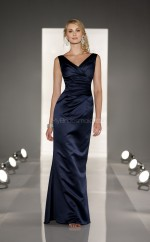 Dark Navy Satin Sheath V-neck Long Bridesmaid Dresses (NZBD06826)