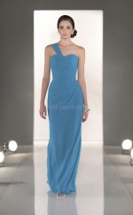Ocean Blue Chiffon Sheath One Shoulder Long Bridesmaid Dresses (NZBD06831)