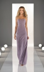 Lilac Chiffon Sheath Sweetheart Long Bridesmaid Dresses (NZBD06832)
