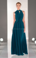 Ink Blue Chiffon A-line Halter Long Bridesmaid Dresses (NZBD06835)