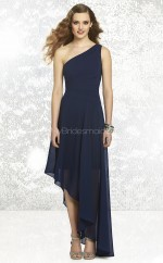 Dark Navy Chiffon A-line One Shoulder Asymmetrical Bridesmaid Dresses (NZBD06842)
