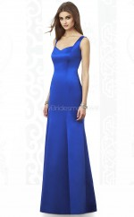 Ocean Blue Satin Sheath Straps Long Bridesmaid Dresses (NZBD06845)