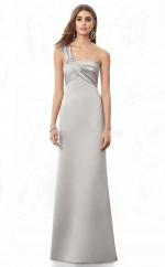 Silver Satin Sheath One Shoulder Long Bridesmaid Dresses (NZBD06846)