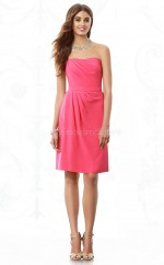 Ruby Chiffon A-line Strapless Knee-length Bridesmaid Dress For Beach(NZBD06847)