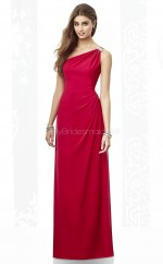 Light Burgundy Chiffon Sheath One Shoulder Long Bridesmaid Dresses (NZBD06849)