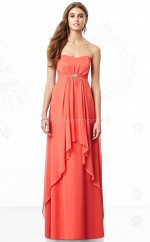 Watermelon Chiffon Sheath Sweetheart Long Bridesmaid Dresses (NZBD06852)