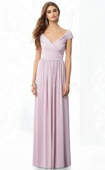 Lilac Chiffon A-line V-neck Floor-length Vintage Bridesmaid Dresses (NZBD06858)