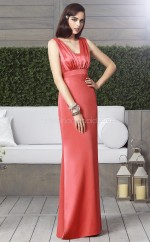 Watermelon Stretch Satin Sheath Straps Long Bridesmaid Dresses (NZBD06860)