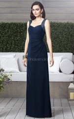 Dark Navy Chiffon Sheath Straps Long Bridesmaid Dresses (NZBD06864)