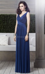Navy Blue Satin Chiffon A-line V-neck Floor-length Vintage Bridesmaid Dresses (NZBD06873)
