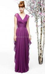 Dark Fuchsia Chiffon A-line V-neck Floor-length Vintage Bridesmaid Dresses (NZBD06880)