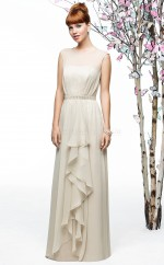Gray Chiffon A-line Jewel Long Bridesmaid Dresses (NZBD06882)