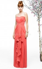 Watermelon Chiffon A-line Sweetheart Long Bridesmaid Dresses (NZBD06883)