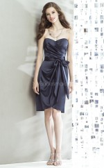 Dark Navy Satin Sheath Sweetheart Neckline Short Bridesmaid Dresses (NZBD06884)